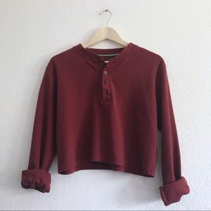 Burgundy Deep red button Henley Crop Long Sleeve
